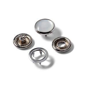 Drukknopen, metaal zilver met parel