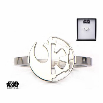 Starwars Women's Stainless Steel Star Wars Rogue One Rebel Alliance/Galactic Empire Symbol Cut Out Ring SIZE 6