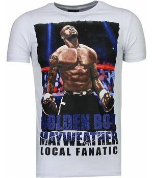 Local Fanatic Camisetas - Golden Boy Mayweather Rhinestone Camisetas Personalizadas - Blanco