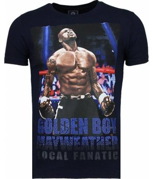 Local Fanatic Camisetas - Golden Boy Mayweather Rhinestone Camisetas Personalizadas - Azul