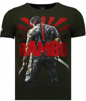 Local Fanatic Camisetas - Rambo Shine Rhinestone Camisetas Personalizadas - Verde