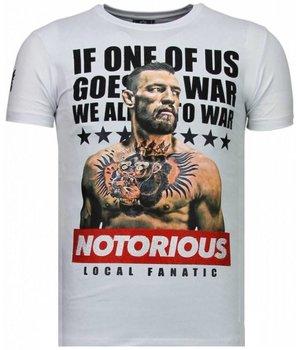 Local Fanatic Camisetas - Conor McGregor Rhinestone Camisetas Personalizadas - Blanco