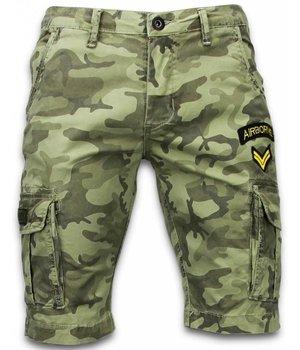 Enos Pantalones Cortos - Ejercito Cosido Pantalones Corto Slim Fit - verde