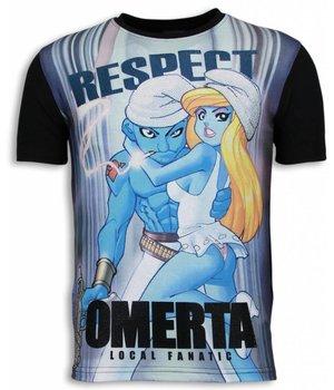 Local Fanatic Camisetas - Respect Omerta Digital Rhinestone Camisetas Personalizadas - Negro