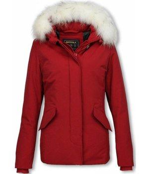 Matogla Parkas Mujer - Mujer chaqueta De Invierno Wooly Corto - Cuero De Piel Grande - Rojo