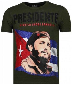 Local Fanatic Camisetas - Che Guevara Comandante Rhinestone Camisetas Personalizadas - Verde