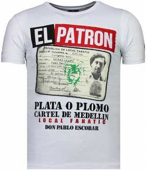Local Fanatic Camisetas - El Patron Narcos Billionaire- Rhinestone Camisetas - Blanco