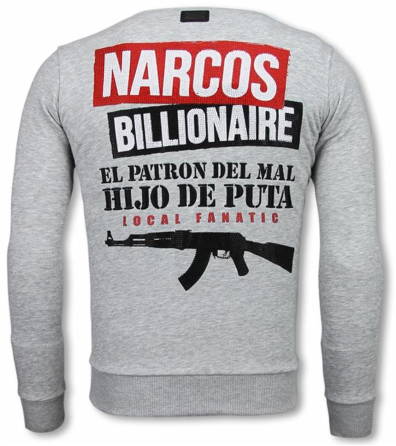 Local Fanatic Sudaderas - Narcos Billionaire - Rhinestone - Gris
