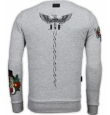 Local Fanatic Sudaderas - McGregor Notoriuous Tattoo - Embroidery - Gris