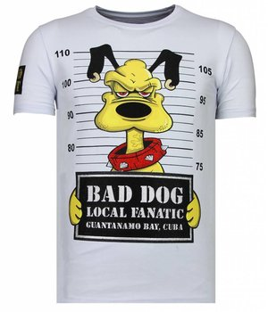 Local Fanatic Camisetas - Bad Dog -  Rhinestone Camisetas -  Blanco