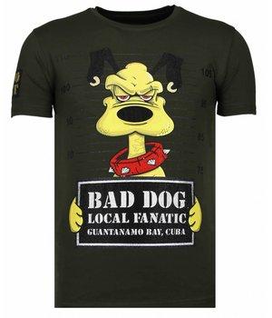 Local Fanatic Camisetas - Bad Dog -  Rhinestone Camisetas -  Verde