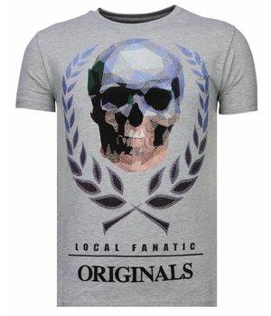Local Fanatic Camisetas - Skull Originals - Rhinestone Camisetas -  Gris