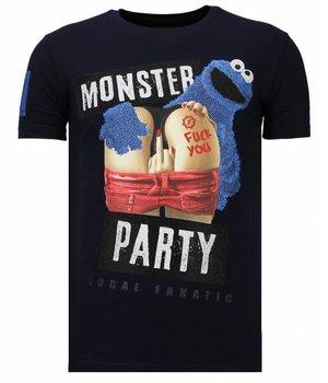 Local Fanatic Camisetas - Monster Party - Rhinestone Camisetas -  Azul