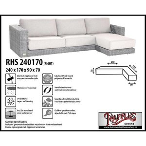 Raffles Covers Hoekbank hoes, 240 x 170 x 90, H: 70 cm, taupe