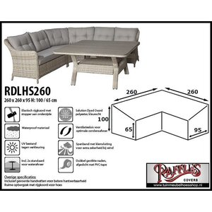 Raffles Covers Hoes hoge loungeset, 260 x 260 x 95, H: 100 / 65 cm, taupe