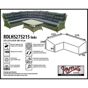 Raffles Covers L-vormige hoes loungeset hoog, 275 x 215 x 95, H: 100 / 65 cm, taupe