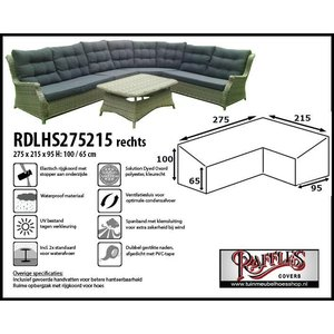 Raffles Covers Hoge hoekbankhoes rechts, 275 x 215 x 95, H: 100 / 65 cm, taupe