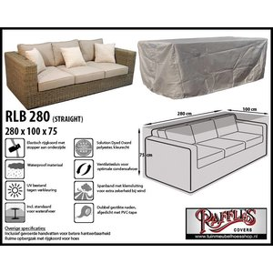 Raffles Covers Loungebank hoes, 280 x 100 H: 75 cm, taupe