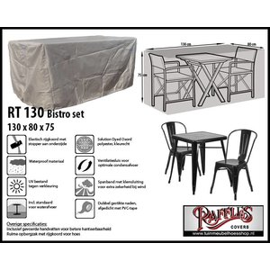 RT130 Bistro set hoes, 130 x 80 H: 75 cm, taupe.