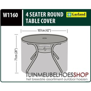 Hoes voor ronde tafel, D: 107 cm & H: 71 cm
