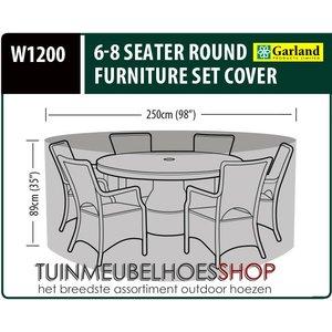 W1200, Ronde tuinsethoes, D: 250 cm & H: 89 cm