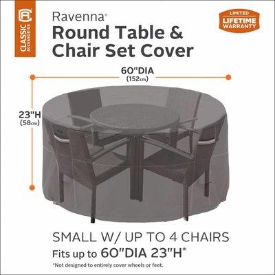 Hoes voor ronde tuinset, bescherm hoes rond, voor ronde tafel met 4 stoelen, diam. 152  cm Hoog 58 cm