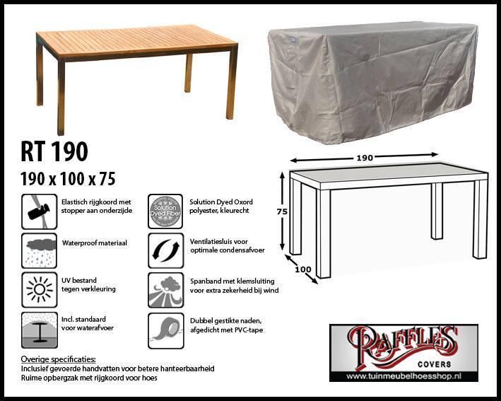 Elegant Raffles Covers RT190 Schutzhülle Für Rechteckige Gartentisch, 190 Cm.
