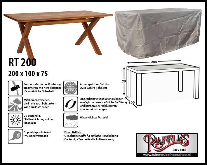Raffles Covers RT200 Schutzhülle Für Rechteckige Gartentisch, 200 Cm.