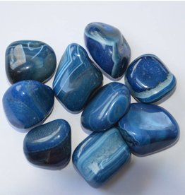 Trommelstein Streifenachat blau