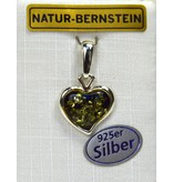 Bernstein Herz grün 925er Silber
