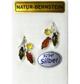 Bernstein Ohrstecker Herbstlaub 925er Silber