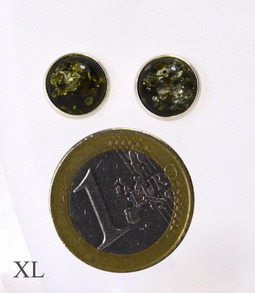 Bernstein Ohrstecker grün - die schlichte runde Form