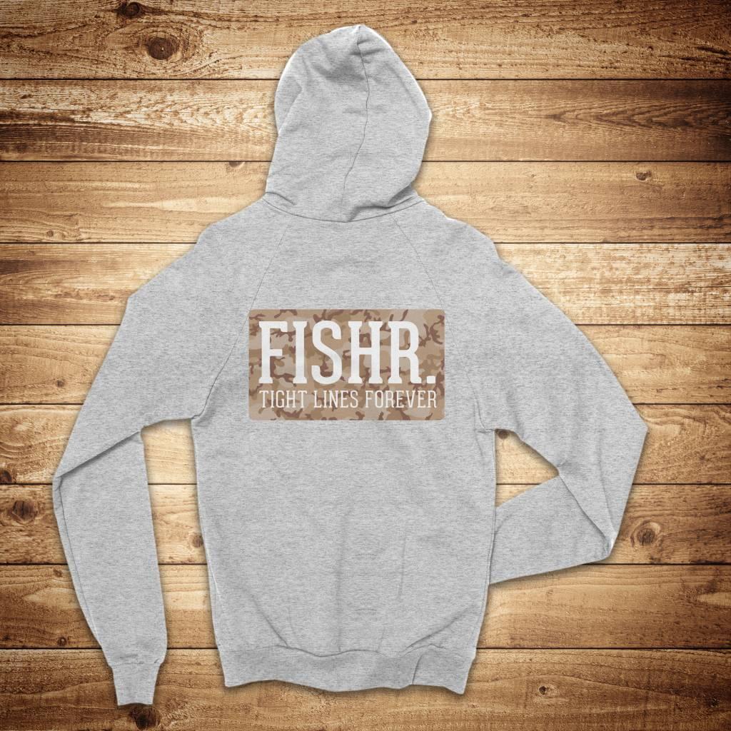 FISHR. FISHR. Crew Hoodie Heather Grey Sandbank Camo