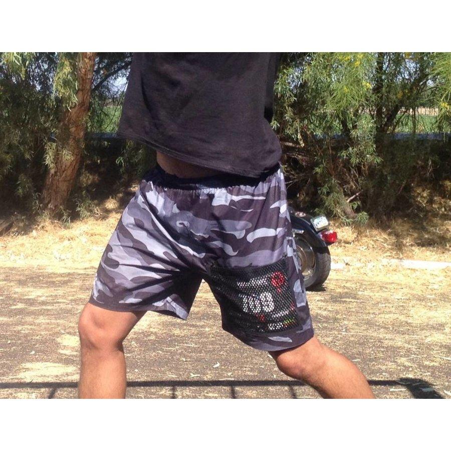 Men's Camouflage OCR Running Shorts With Velcro Bib Protector