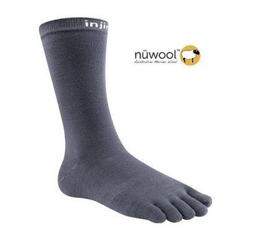 Injinji Liner Crew Nuwool Charcoal Toe Socks