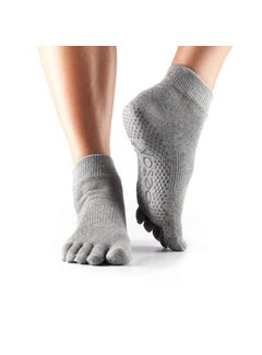 Toesox Toesox Ankle Grip Full Toe Gray
