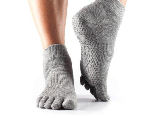 Toesox Toesox Ankle Grip Full Toe Grijs