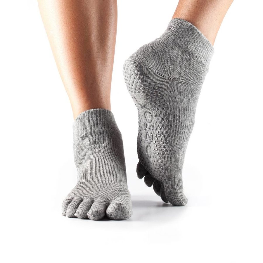 Toesox Ankle Grip Full Toe Grey
