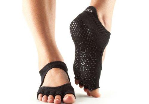 Toesox Bellarina Grip Half Toe Black