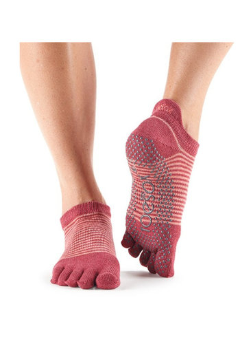Toesox Toesox Low Rise Pomegrate Stripe