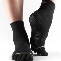Toesox Ankle Grip Full Toe Black