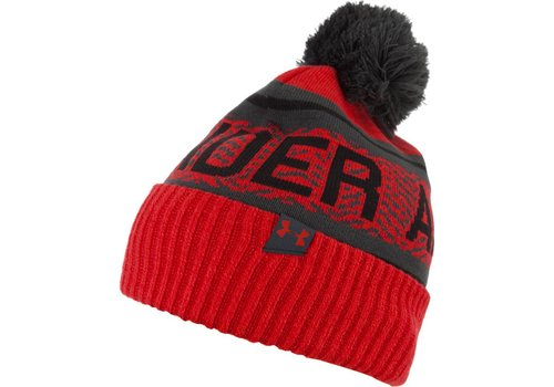 Under Armor Retro Pom Refresh Beanie Red