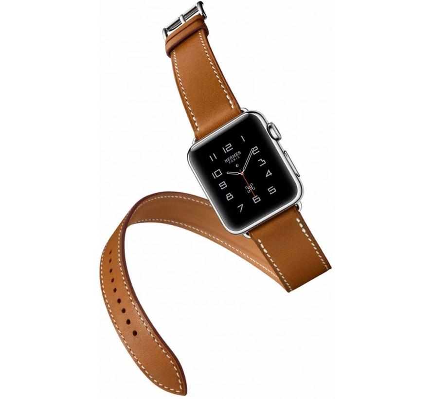 Apple watch leren long loop band - bruin
