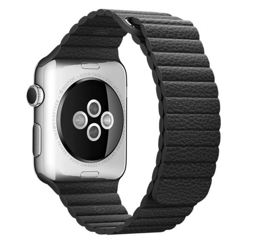 42mm Apple Watch zwart PU leer ribbel bandje
