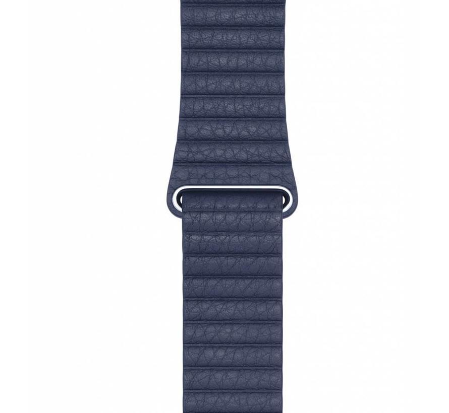 42mm Apple Watch blauw PU leer ribbel bandje
