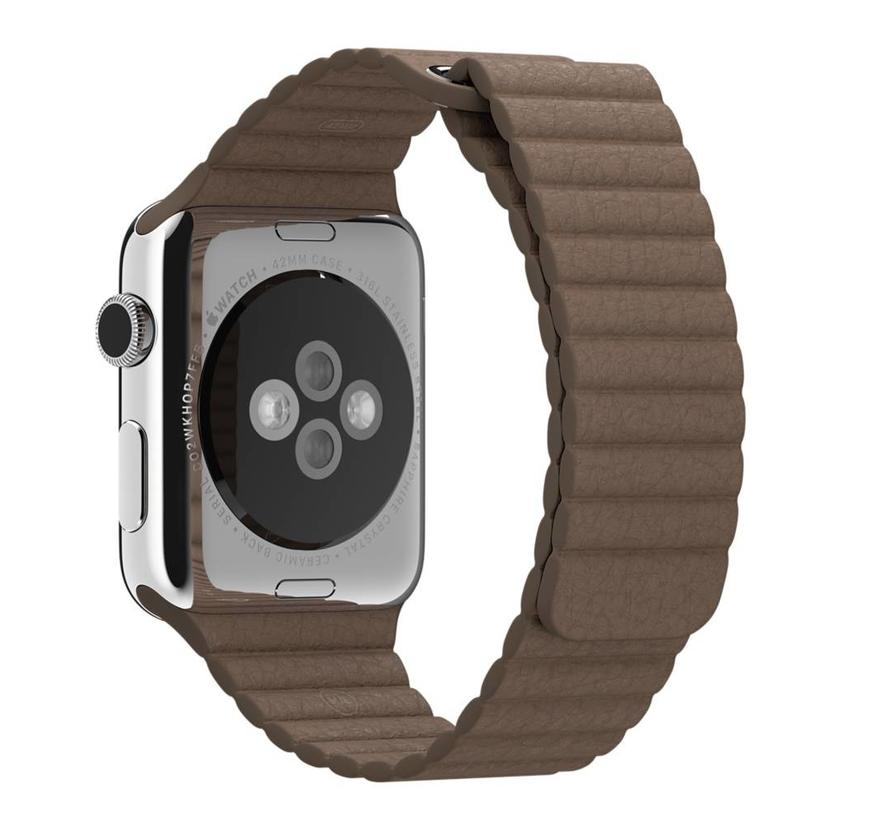 42mm Apple Watch bruin PU leer ribbel bandje