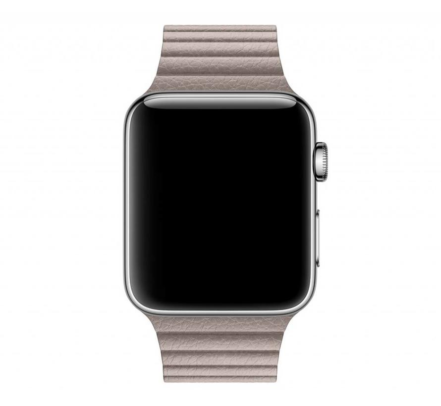 Apple watch PU leren ribbel band - khaki
