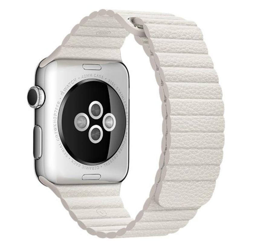 42mm Apple Watch wit PU leer ribbel bandje