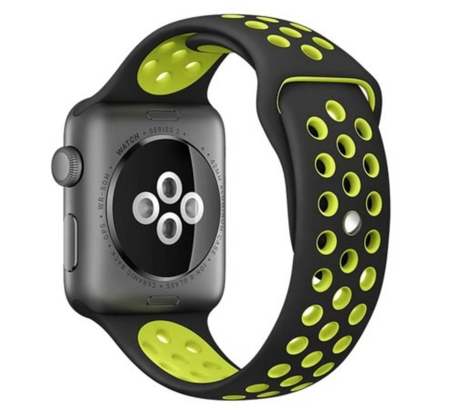 42mm Apple Watch zwart / geel sport bandje