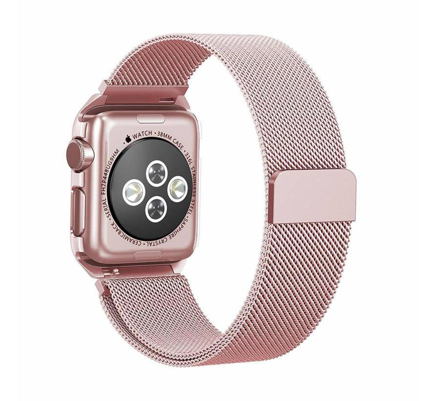 Apple watch milanese case band - roze